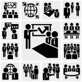 Διανυσματικά εικονίδια γραφείων και επιχειρήσεων που τίθενται σε γκρίζο Στοκ εικόνες με δικαίωμα ελεύθερης χρήσης
