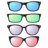 Διανυσματικά εικονίδια γυαλιών ηλίου με τους ημιδιάφανους φακούς Στοκ Εικόνες