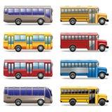 Διανυσματικά εικονίδια λεωφορείων Στοκ Εικόνες