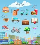 Διανυσματικά εικονίδια ζωής πόλεων Στοκ Εικόνα