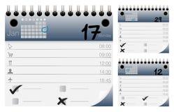 Διανυσματικά εικονίδια ημερολογίων και διοργανωτών καθορισμένα Στοκ εικόνα με δικαίωμα ελεύθερης χρήσης