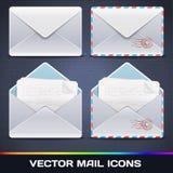 Διανυσματικά εικονίδια ηλεκτρονικού ταχυδρομείου Στοκ Εικόνες