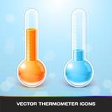 Διανυσματικά εικονίδια θερμομέτρων Στοκ φωτογραφίες με δικαίωμα ελεύθερης χρήσης