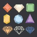 Διανυσματικά εικονίδια διαμαντιών καθορισμένα διανυσματική απεικόνιση