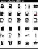 Διανυσματικά εικονίδια καθορισμένα. Βενζινάδικο Στοκ Φωτογραφίες