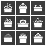 Διανυσματικά εικονίδια κιβωτίων δώρων Στοκ Εικόνα