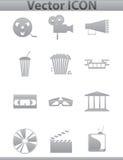 Διανυσματικά εικονίδια κινηματογράφων. Ταινία και τετραγωνικά γκρίζα εικονίδια Στοκ φωτογραφίες με δικαίωμα ελεύθερης χρήσης