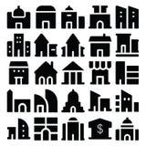 Διανυσματικά εικονίδια 2 κτηρίου & επίπλων Στοκ Εικόνες