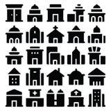Διανυσματικά εικονίδια 1 κτηρίου & επίπλων Στοκ Εικόνες