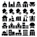 Διανυσματικά εικονίδια 3 κτηρίου & επίπλων Στοκ Εικόνα