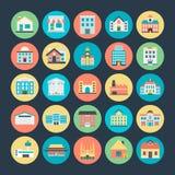 Διανυσματικά εικονίδια 1 κτηρίων Στοκ Εικόνα