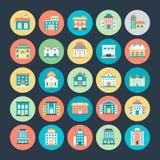 Διανυσματικά εικονίδια 3 κτηρίων Στοκ Εικόνες