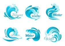 Διανυσματικά εικονίδια κυμάτων και παφλασμών νερού απεικόνιση αποθεμάτων