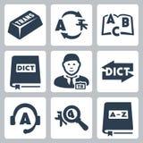 Διανυσματικά εικονίδια μεταφράσεων και λεξικών καθορισμένα Στοκ εικόνες με δικαίωμα ελεύθερης χρήσης