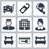Διανυσματικά εικονίδια ξενοδοχείων καθορισμένα Στοκ Εικόνα