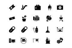 Διανυσματικά εικονίδια 4 ξενοδοχείων και εστιατορίων Στοκ εικόνες με δικαίωμα ελεύθερης χρήσης
