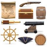Διανυσματικά εικονίδια πειρατών Στοκ Εικόνες