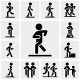 Διανυσματικά εικονίδια περπατήματος που τίθενται σε γκρίζο Στοκ Φωτογραφίες