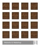 Διανυσματικά εικονίδια που τίθενται για τον ιστοχώρο και webshop  κουμπιά ξυλογραφιών Απεικόνιση αποθεμάτων