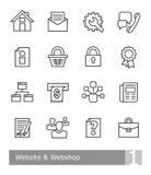 Διανυσματικά εικονίδια που τίθενται για τον ιστοχώρο και webshop  μαύρες τολμηρές περιλήψεις Απεικόνιση αποθεμάτων