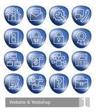 Διανυσματικά εικονίδια που τίθενται για το κατάστημα ιστοχώρου και Ιστού  μπλε τρισδιάστατα κουμπιά Απεικόνιση αποθεμάτων