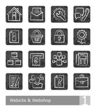 Διανυσματικά εικονίδια που τίθενται για το κατάστημα ιστοχώρου και Ιστού  σχέδια κιμωλίας Διανυσματική απεικόνιση