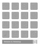 Διανυσματικά εικονίδια που τίθενται για το κατάστημα ιστοχώρου και Ιστού  κουμπιά μετάλλων Ελεύθερη απεικόνιση δικαιώματος