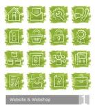 Διανυσματικά εικονίδια που τίθενται για το κατάστημα ιστοχώρου και Ιστού  watercolour κουμπιά Ελεύθερη απεικόνιση δικαιώματος