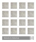 Διανυσματικά εικονίδια που τίθενται για το κατάστημα ιστοχώρου και Ιστού  εκλεκτής ποιότητας ξύλινα κουμπιά Διανυσματική απεικόνιση