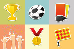 Διανυσματικά εικονίδια ποδοσφαίρου/ποδοσφαίρου καθορισμένα Στοκ φωτογραφία με δικαίωμα ελεύθερης χρήσης