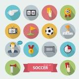 Διανυσματικά εικονίδια ποδοσφαίρου διανυσματική απεικόνιση