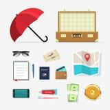 Διανυσματικά εικονίδια πραγμάτων ταξιδιού, στοιχεία αποσκευών στο ταξίδι, προγραμματισμός ταξιδιών Στοκ Φωτογραφία