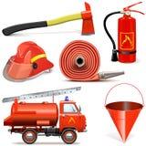Διανυσματικά εικονίδια πρόληψης πυρκαγιάς Στοκ Εικόνες