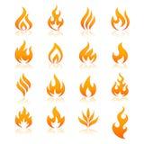 Διανυσματικά εικονίδια πυρκαγιάς απεικόνιση αποθεμάτων
