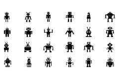 Διανυσματικά εικονίδια 2 ρομπότ Στοκ Εικόνες