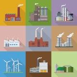 Διανυσματικά εικονίδια σχεδίου εργοστασίων και εγκαταστάσεων παραγωγής ενέργειας επίπεδα απεικόνιση αποθεμάτων