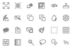 Διανυσματικά εικονίδια 2 σχεδίου και ανάπτυξης τέχνης Στοκ Εικόνες