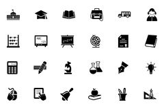 Διανυσματικά εικονίδια 1 σχολείου και εκπαίδευσης Στοκ φωτογραφία με δικαίωμα ελεύθερης χρήσης