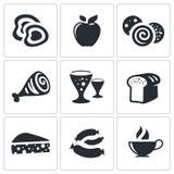 Διανυσματικά εικονίδια τροφίμων καθορισμένα Στοκ Εικόνες