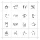 Διανυσματικά εικονίδια τροφίμων που τίθενται στο υπόβαθρο wite απεικόνιση αποθεμάτων