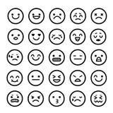 Διανυσματικά εικονίδια των κινούμενων σχεδίων συγκίνησης προσώπων smiley Στοκ εικόνα με δικαίωμα ελεύθερης χρήσης