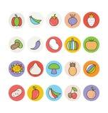 Διανυσματικά εικονίδια 3 φρούτων και λαχανικών Στοκ Εικόνες