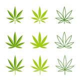Διανυσματικά εικονίδια φύλλων μαριχουάνα Στοκ εικόνα με δικαίωμα ελεύθερης χρήσης