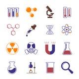Διανυσματικά εικονίδια χημείας, έρευνας και επιστήμης χρώματος διανυσματική απεικόνιση
