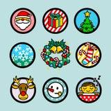 Διανυσματικά εικονίδια Χριστουγέννων καθορισμένα Στοκ Εικόνα