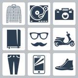 Διανυσματικά εικονίδια hipster καθορισμένα Στοκ Εικόνα