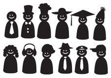 Διανυσματικά εικονίδια Smiley σε διαφορετικό Headwear Στοκ φωτογραφία με δικαίωμα ελεύθερης χρήσης