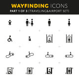 Διανυσματικά εικονίδια Wayfinding καθορισμένα διανυσματική απεικόνιση