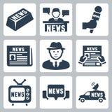 Διανυσματικά ειδήσεις και εικονίδια δημοσιογραφίας καθορισμένες διανυσματική απεικόνιση
