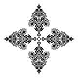 Διανυσματικά εκλεκτής ποιότητας όμορφα μονοχρωματικά γραπτά λουλούδια και φύλλα που απομονώνονται Στοκ Εικόνες